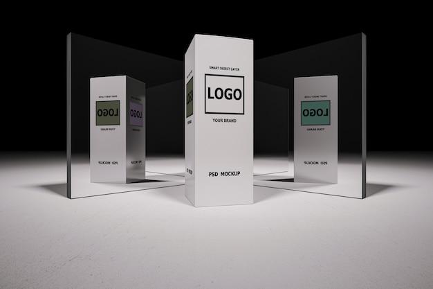 Maquete de renderização em 3d da caixa branca