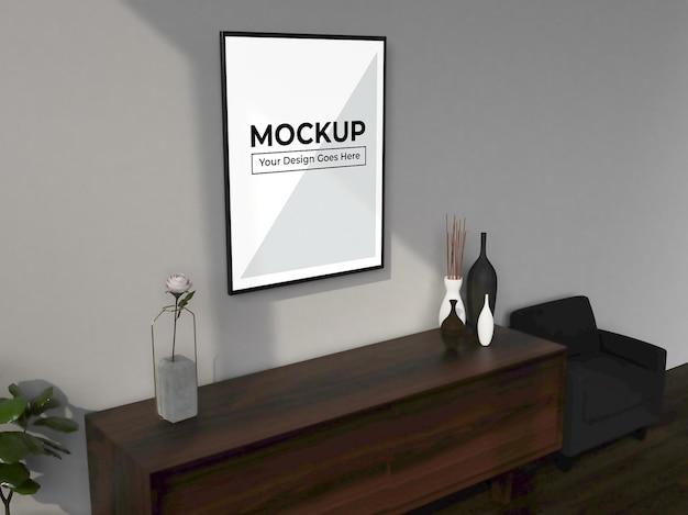 Maquete de renderização em 3d da moldura da sala de estar com móveis