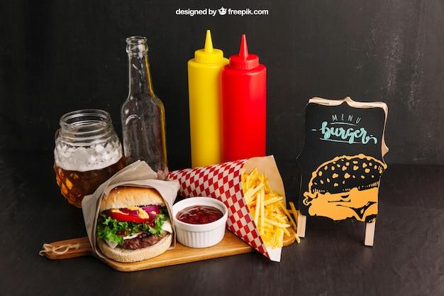 Maquete de restaurante de fast food