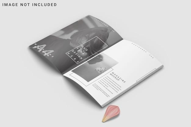 Maquete de revista a4 aberta com flor