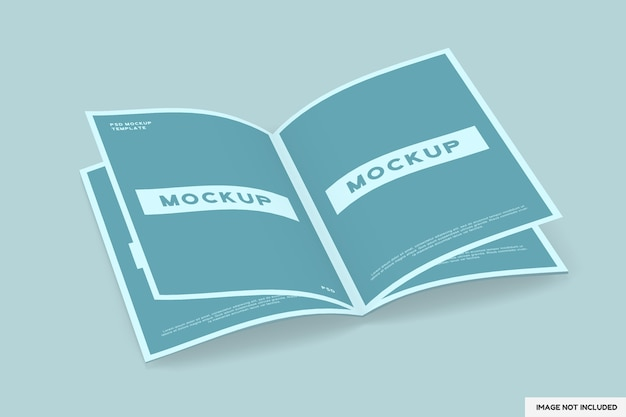Maquete de revista aberta isolada