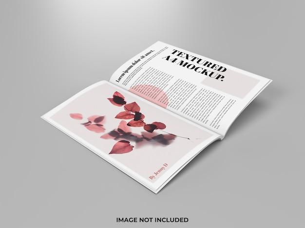 Maquete de revista aberta para anúncio