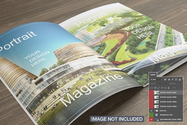 Maquete de revista aberta