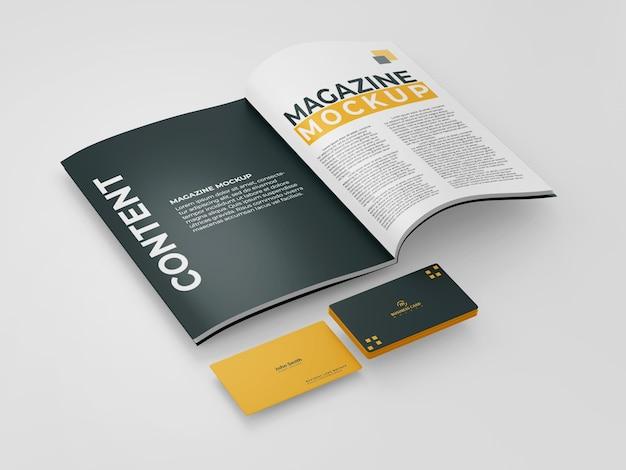 Maquete de revista com cartão de visita
