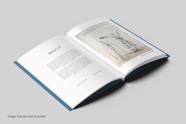 Maquete de revista de livro aberto
