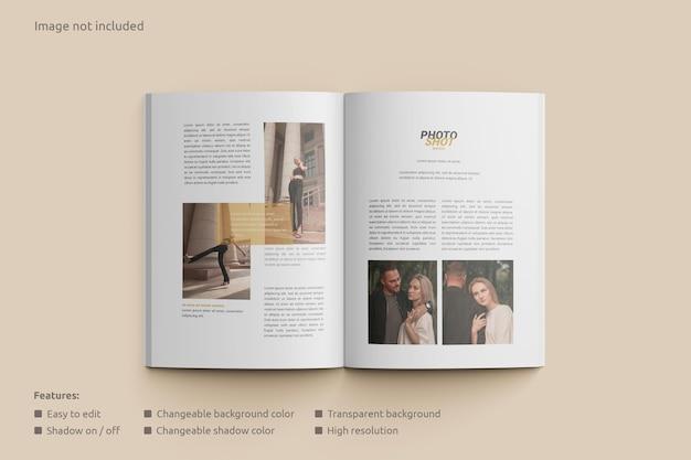 Maquete de revista de visualização aberta
