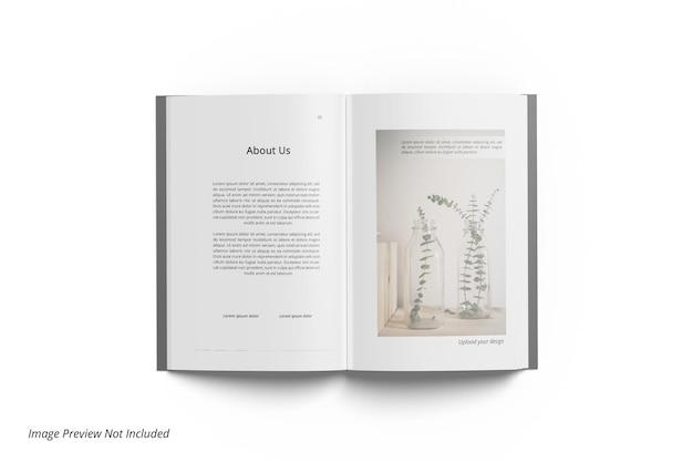Maquete de revista editorial de livros abertos de vista superior