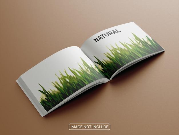 Maquete de revista horizontal com vista lateral