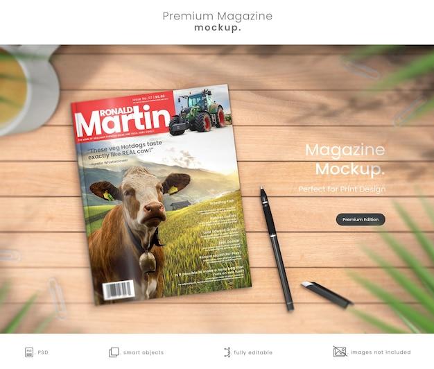 Maquete de revista premium do design da capa da revista