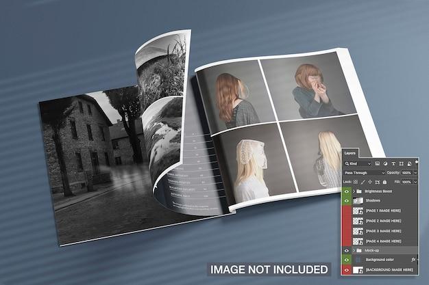 Maquete de revistas quadradas abertas