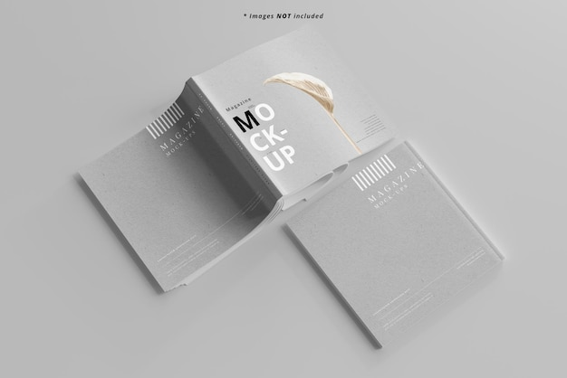 Maquete de revistas quadradas