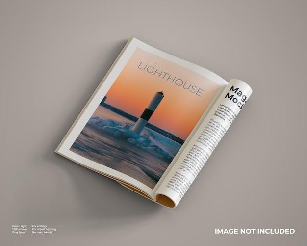 Maquete de revistas que são abertas e dobradas