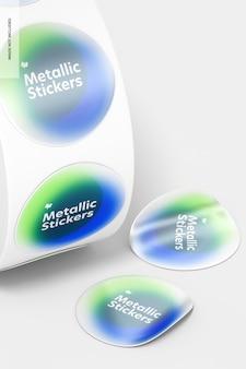 Maquete de rolo de adesivos metálicos, close-up
