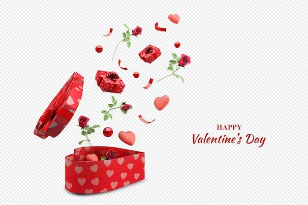 Maquete de rosas e presentes para o dia dos namorados em renderização 3d