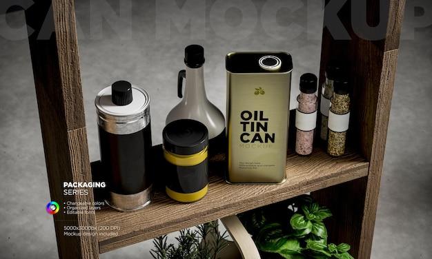 Maquete de rótulos, latas e potes de vidro de especiarias