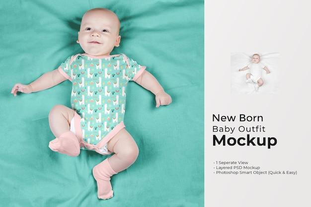 Maquete de roupa de bebê recém-nascido