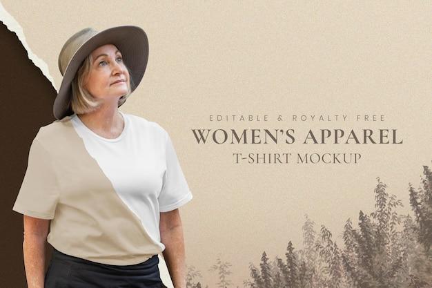 Maquete de roupas femininas psd marrom fundo natural