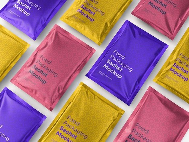 Maquete de sachê de embalagem de alumínio para alimentos Psd grátis