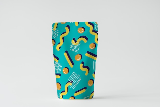 Maquete de sachê de embalagem de produto colorido