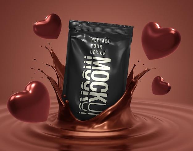 Maquete de sachê para bombons de chocolate em formato de coração