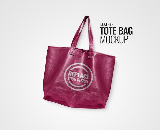Maquete de saco de alça de couro rosa