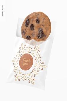 Maquete de saco de biscoito de celofane, aberto