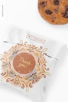 Maquete de saco de biscoito de celofane, close-up