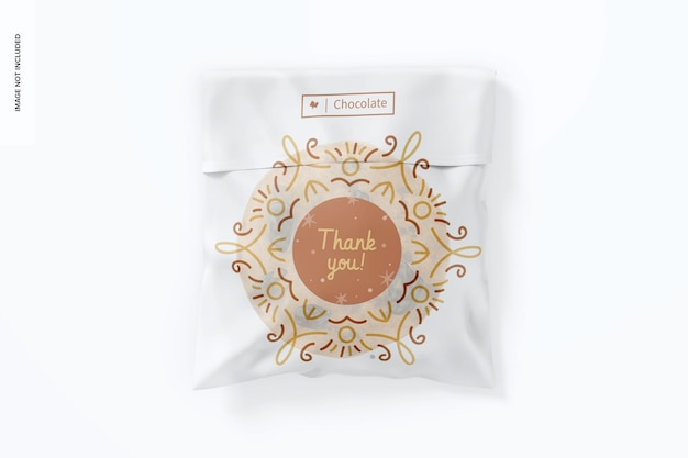 Maquete de saco de biscoitos de celofane, vista superior