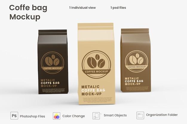 Maquete de saco de café de papel metálico