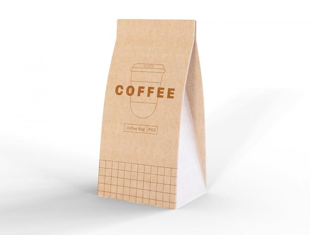 Maquete de saco de café de papel