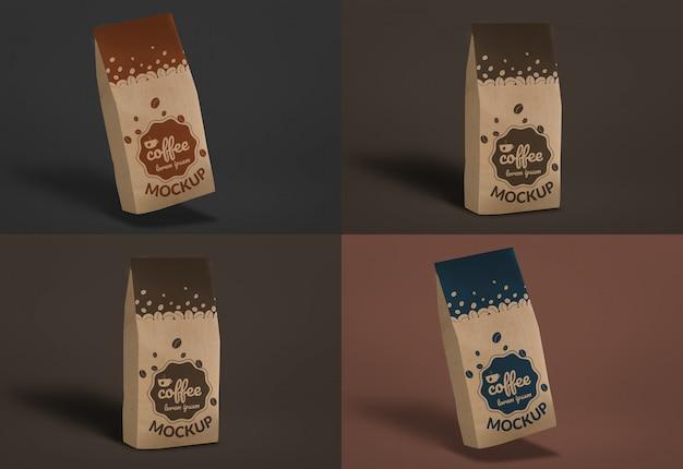 Maquete de saco de café escuro