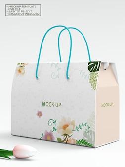 Maquete de saco de caixa de papel