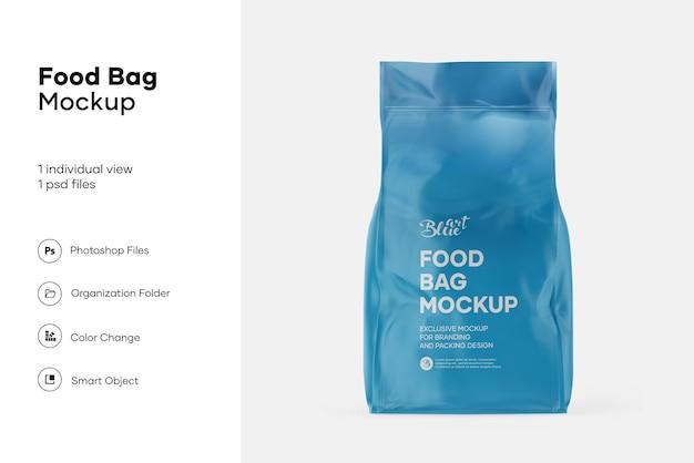 Maquete de saco de comida metálico brilhante