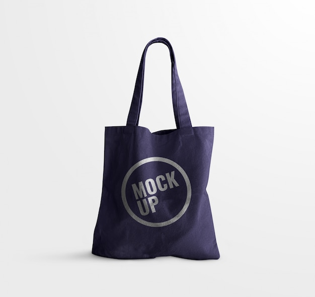 Maquete de saco de identificador de brim azul