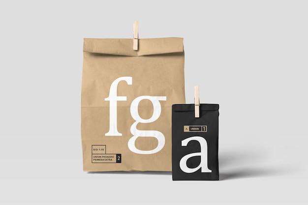 Maquete de saco de papel de dois tamanhos