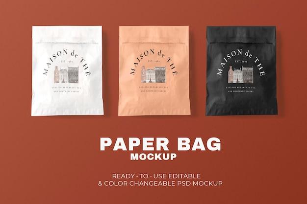 Maquete de saco de papel de padaria psd em estilo minimalista