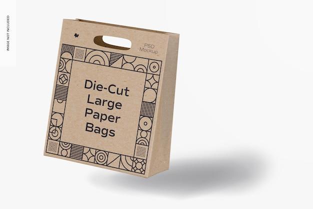Maquete de saco de papel grande recortado, inclinado