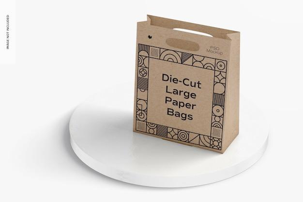 Maquete de saco de papel grande recortado, perspectiva