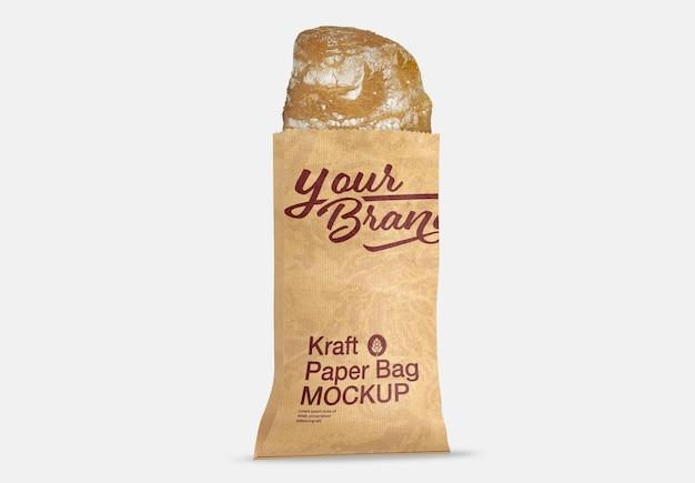 Maquete de saco de papel kraft de pão