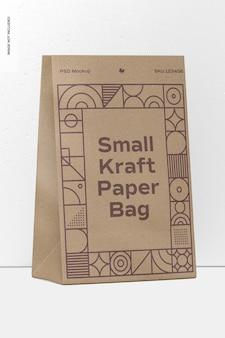 Maquete de saco de papel kraft pequeno, perspectiva