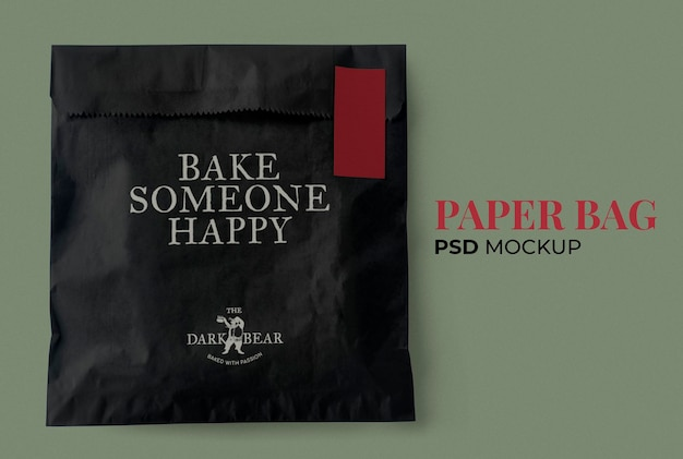 Maquete de saco de papel lanche psd em embalagem clássica preta e vermelha co