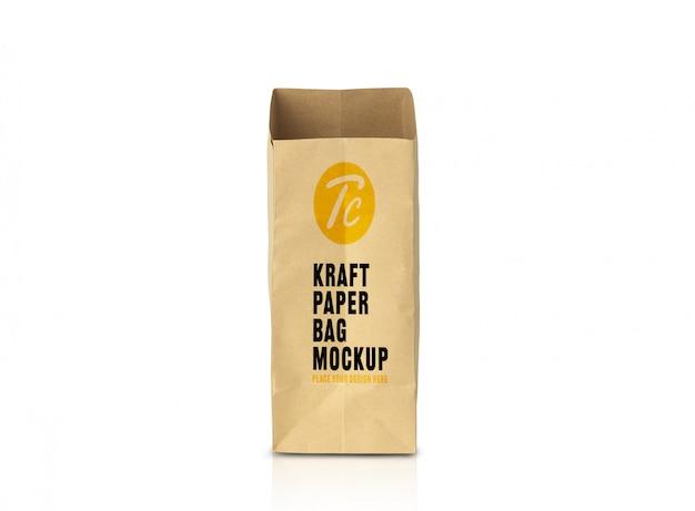 Maquete de saco de papel marrom reciclado para seu projeto