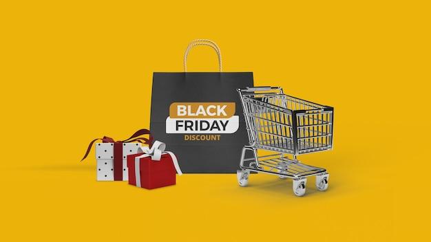 Maquete de sacola de compras com carrinho renderizado em 3d e caixa de presente