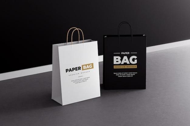 Maquete de sacola de compras de papel em preto e branco