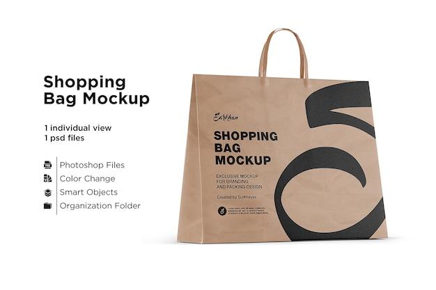 Maquete de sacola de compras de papel isolada