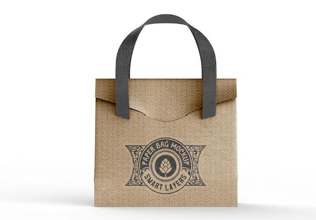 Maquete de sacola de compras de papel kraft