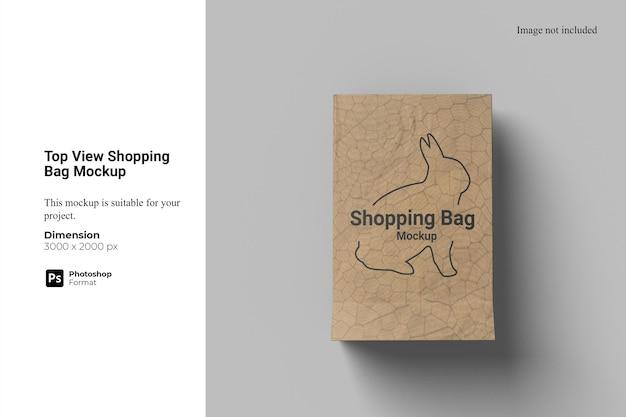 Maquete de sacola de compras de vista superior