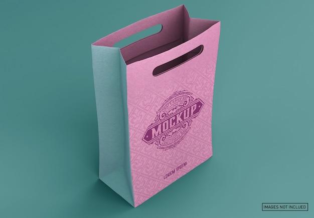 Maquete de sacola de compras kraft