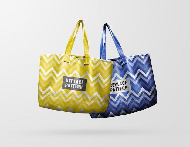 Maquete de sacola de couro amarelo e azul