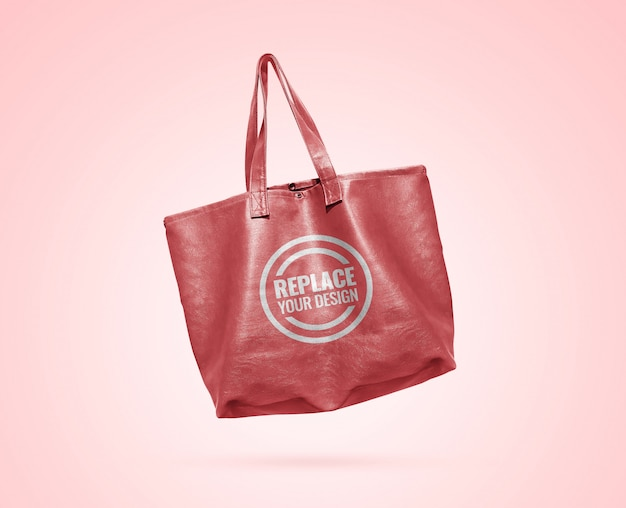 Maquete de sacola de couro rosa pastel